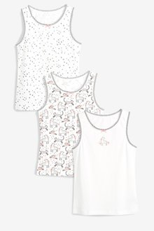 Next White 3 Pack Unicorn Vests - 251529