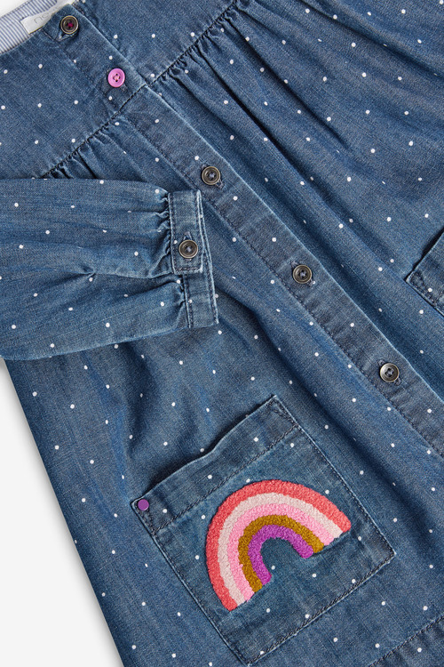 Next Blue Button Through Rainbow Pocket Dress