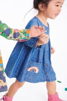 Next Blue Button Through Rainbow Pocket Dress - 251552