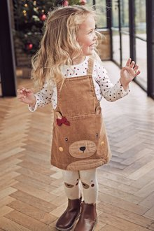 Next Camel Bear Pinafore, Top And Tights Set - 251553