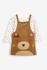 Next Camel Bear Pinafore, Top And Tights Set (3mths-7yrs)