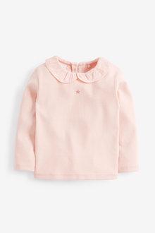 Next Pale Pink Long Sleeve Collar Top (3mths-7yrs) - 251568
