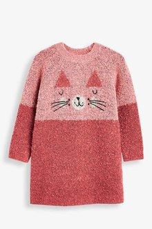 Next Pink Cat Jumper Dress - 251581