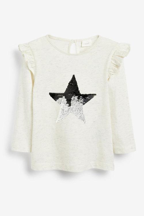 Next Ecru Long Sleeve Sequin Star Top