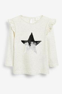 Next Ecru Long Sleeve Sequin Star Top - 251583