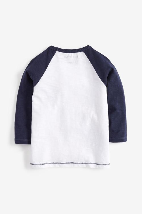 Next White Long Sleeve Appliqué Car T-Shirt (3mths-7yrs)