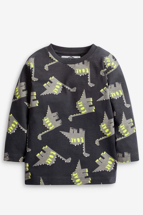 Next Charcoal Long Sleeve Dino Print T-Shirt (3mths-7yrs)
