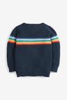 Next Navy Rainbow Stripe Textured Jumper