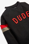 Next Black Long Sleeve Dude Embroidery T-Shirt