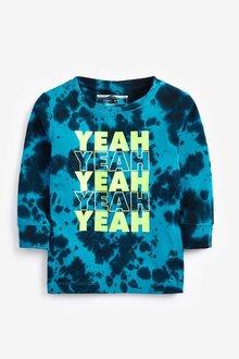 Next Blue Long Sleeve Yeah Tie Dye T-Shirt (3mths-7yrs) - 251623