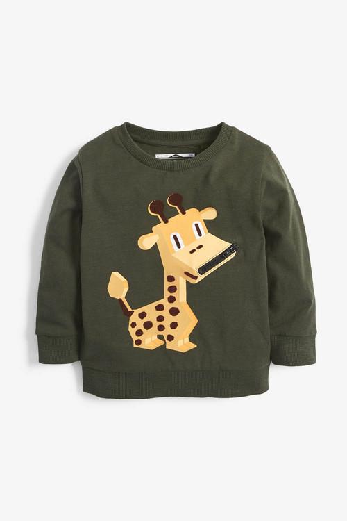 Next Khaki Giraffe Zip Lightweight Crew Top (3mths-7yrs)
