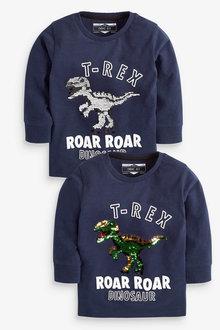 Next Navy Long Sleeve Dino Flippy Sequin T-Shirt - 251628