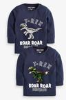 Next Navy Long Sleeve Dino Flippy Sequin T-Shirt (3mths-7yrs)