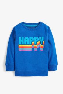 Next Blue Long Sleeve Happy T-Shirt (3mths-7yrs) - 251630