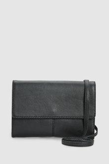 Next Black Leather Across-Body Bag - 251647