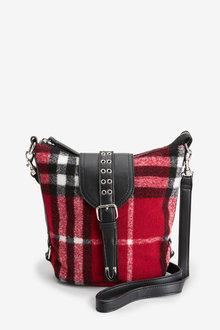Next Red Tartan Hardware Detail Across-Body Bag - 251674