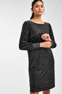 Next Black Animal Velvet Shift Dress - 251678