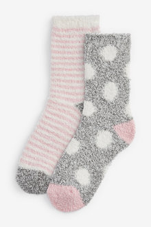 Next Pink/Grey Spot/Stripe Cosy Bed Socks Two Pack - 251686