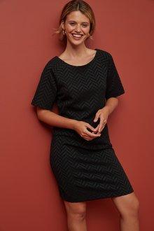 Next Black Jacquard Shift Dress - 251688