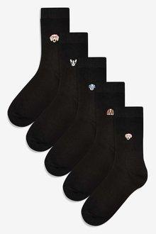 Next Black Dog Motif Ankle Socks Five Pack - 251701