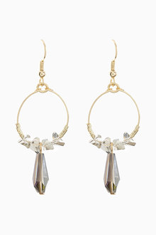 Next Gold Tone Jewel Beaded Hoop Drop Earrings - 251717