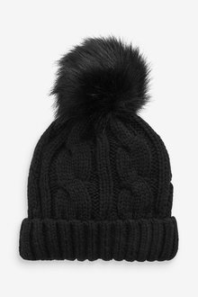 Next Black Cable Pom Hat - 251719