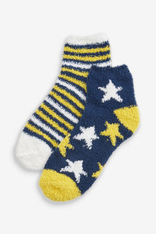 Next Navy/Ochre Star And Striped Cropped Ankle Cosy Bed Socks Two Pack - 251730
