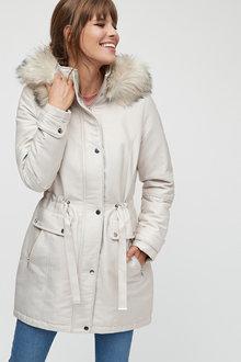 Next Ecru Faux Fur Parka - 251749