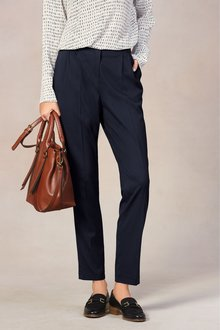 Next Navy Tapered Fit Tailored Trousers - 251796