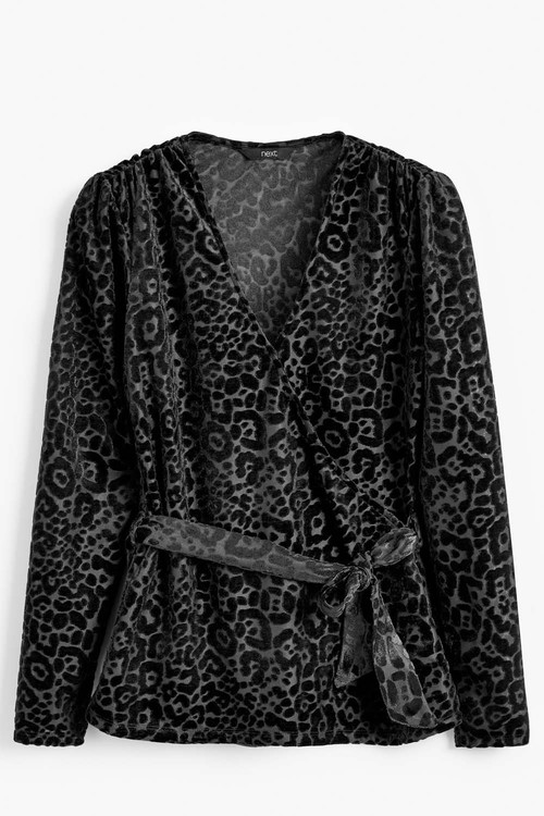Next Black Animal Velvet Wrap Top