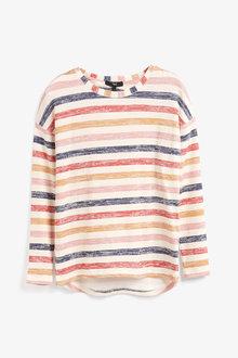 Next Pink/Orange Multi Stripe Knit Look Long Sleeve Top - 251833