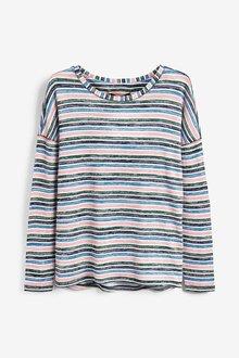 Next Blue/Green Multi Stripe Knit Look Long Sleeve Top - 251840