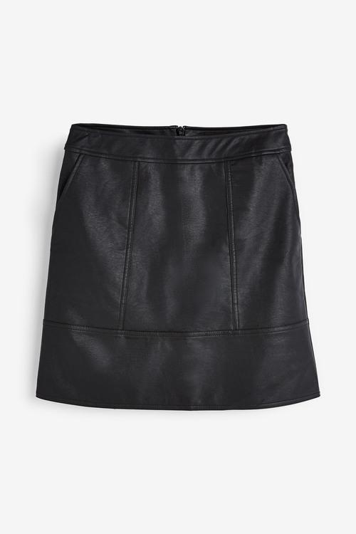 Next Black Faux Leather Mini Skirt