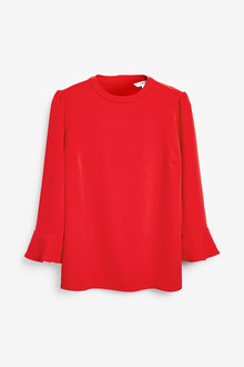 Next Red High Neck Flute Sleeve Top - 251874