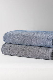 Hampton Chambray Linen Quilted Throw - 251928