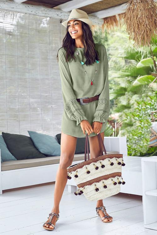 Urban Crochet Detail Tunic Dress