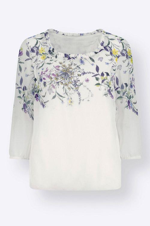 Euro Edit 3/4 Sleeve Floral Print Top