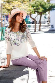 Euro Edit 3/4 Sleeve Floral Print Top - 251933