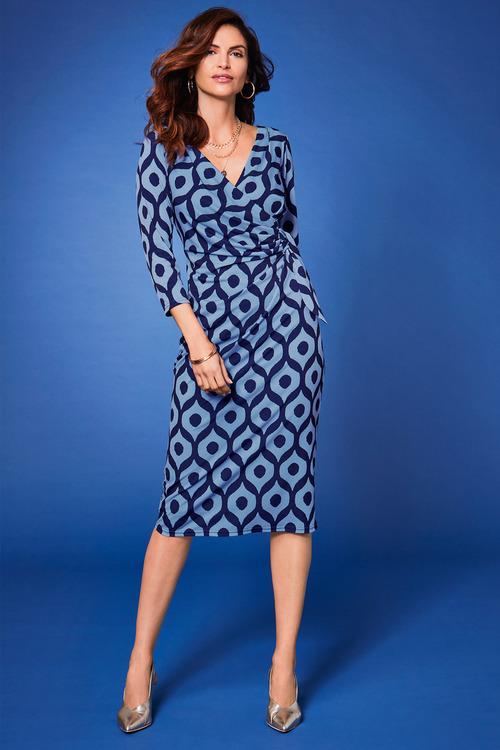 Kaleidoscope Wrap Detail Print Dress