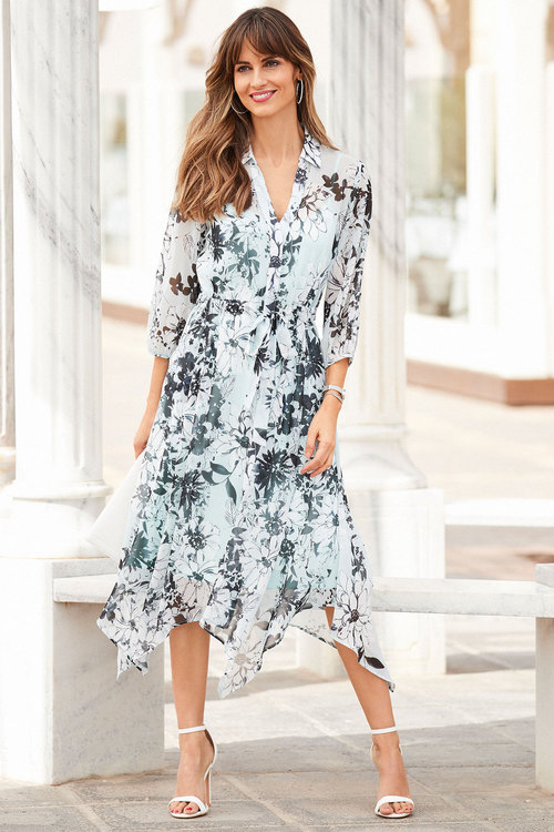 European Collection Printed Georgette Shirt Dress