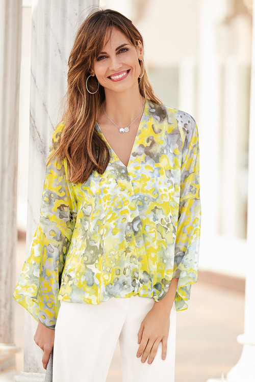 European Collection Abstract Flute Sleeve Top
