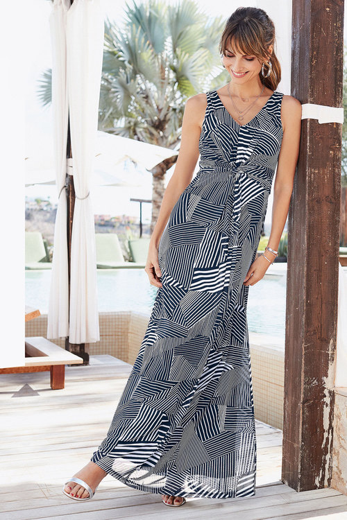 European Collection Knot Front Mesh Dress