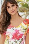European Collection Floral Print Lace Dress