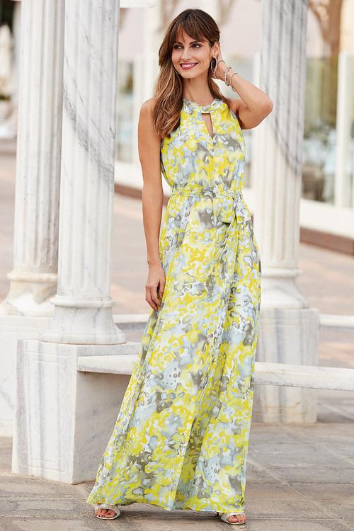 European Collection Abstract Halter Neck Dress