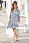 European Collection Pleated Print Dress