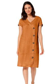 Euro Edit Linen Button Dress - 252012