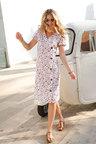 Euro Edit Linen Button Dress