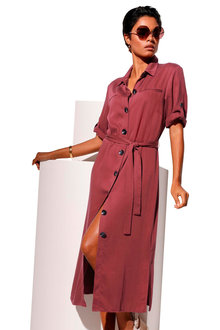 Euro Edit Buttoned Shirt Dress - 252013