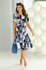 Euro Edit Printed Flare Dress