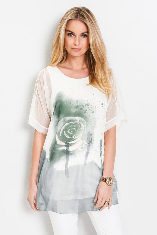 Euro Edit Rose Print Tunic Top